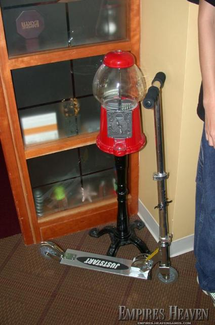 Rick's jelly-bean dispenser and scooter