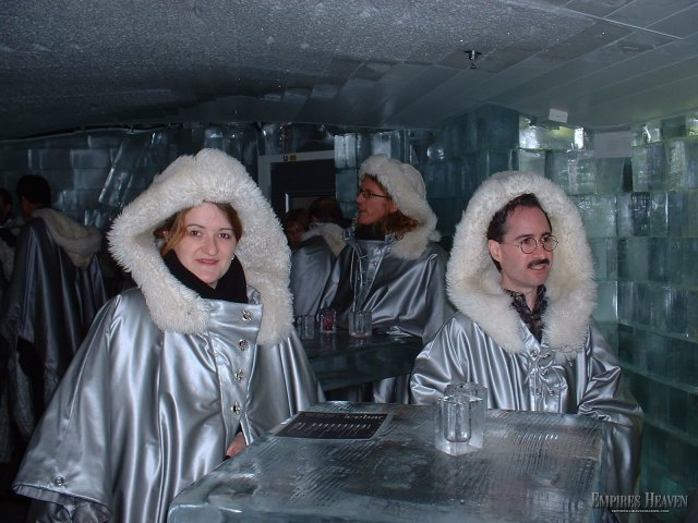 Stockholm - The Ice Bar - where the walls - glasses - bar and tables are all made of ice -  After 2 or 3 drinks your glass melts