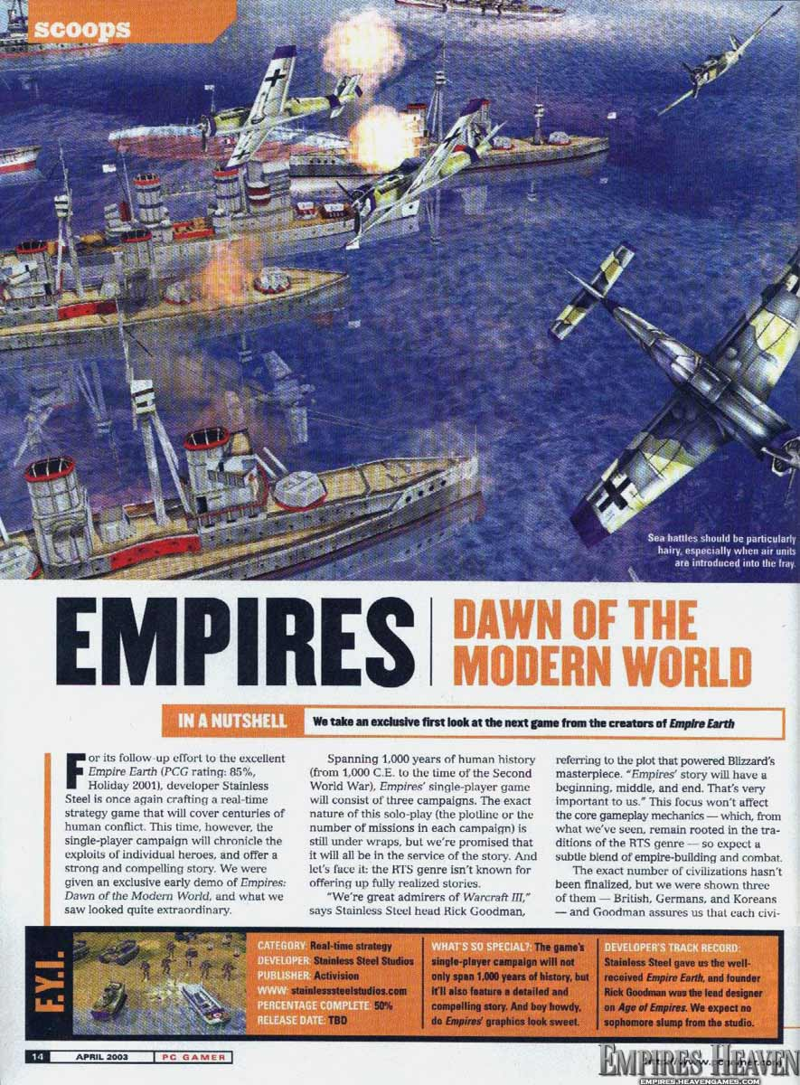 first look at Empires from the August 2003 issue (Page 1)