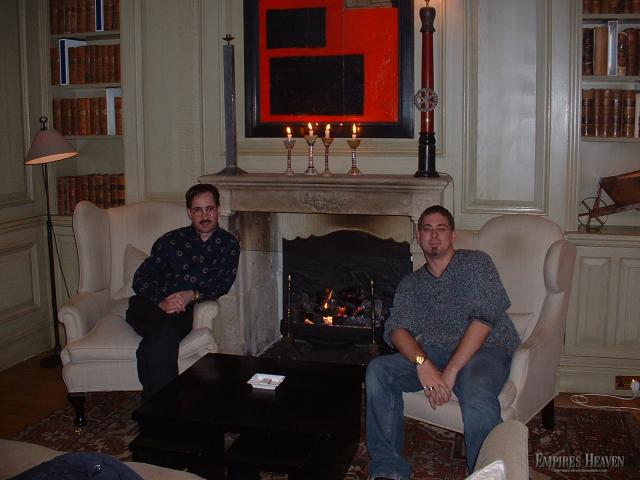 London - Ben and Rick finally take a moment to relax in the Charlotte Street Hotel